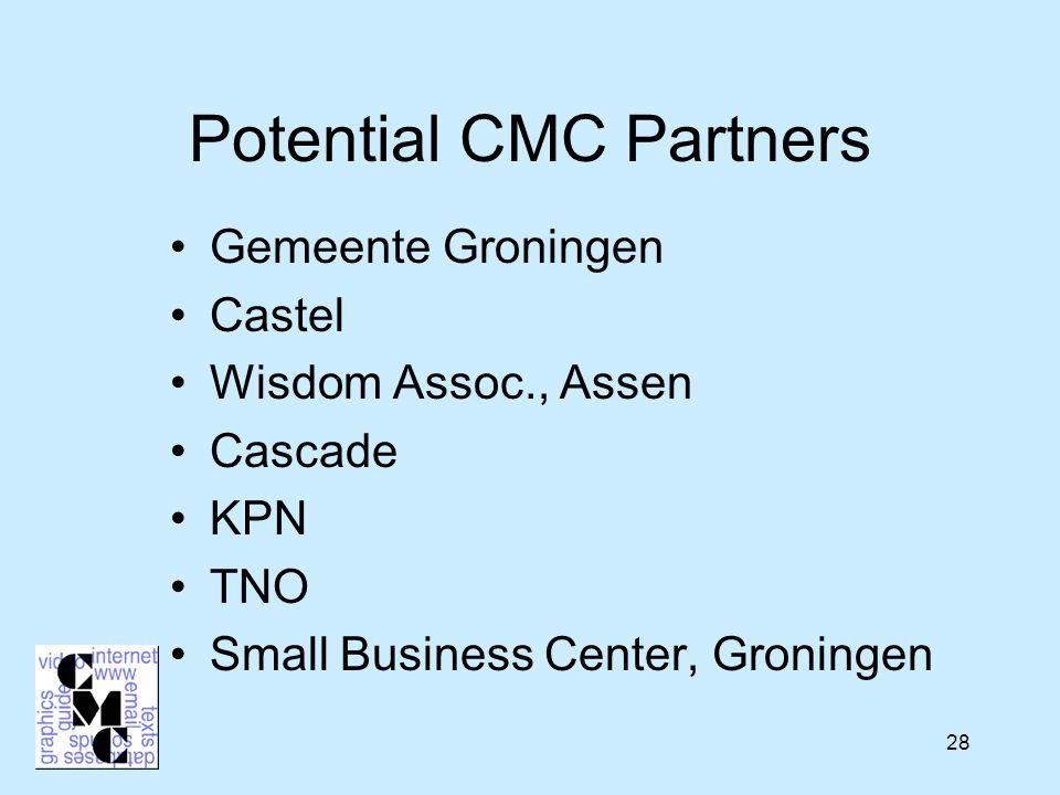 28 Potential CMC Partners Gemeente Groningen Castel Wisdom Assoc., Assen Cascade KPN TNO Small Business Center, Groningen