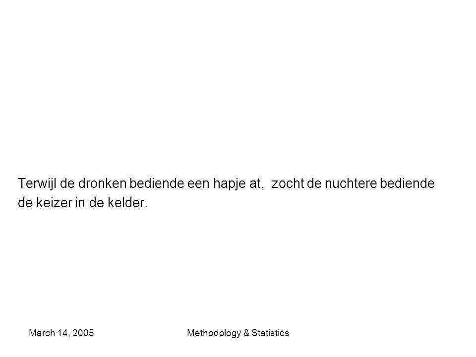 March 14, 2005Methodology & Statistics Terwijl de dronken bediende een hapje at, zocht de nuchtere bediende de keizer in de kelder.