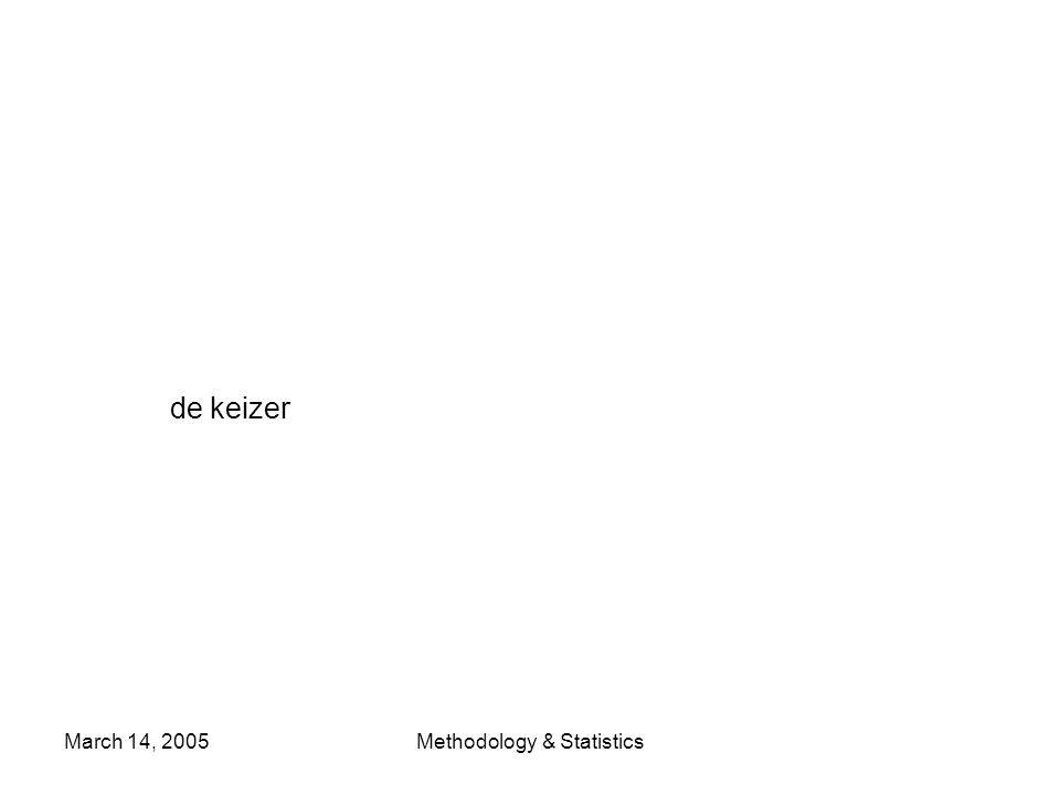 March 14, 2005Methodology & Statistics de keizer