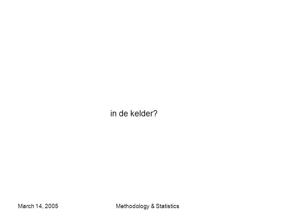March 14, 2005Methodology & Statistics in de kelder