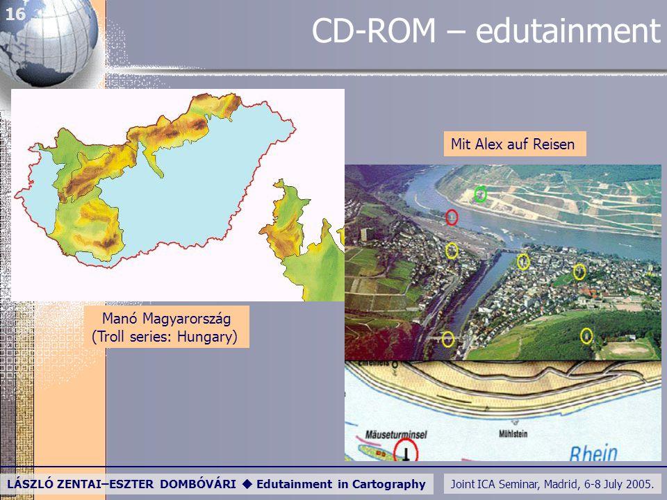 Joint ICA Seminar, Madrid, 6-8 July 2005. LÁSZLÓ ZENTAI–ESZTER DOMBÓVÁRI  Edutainment in Cartography 16 CD-ROM – edutainment Mit Alex auf Reisen Manó