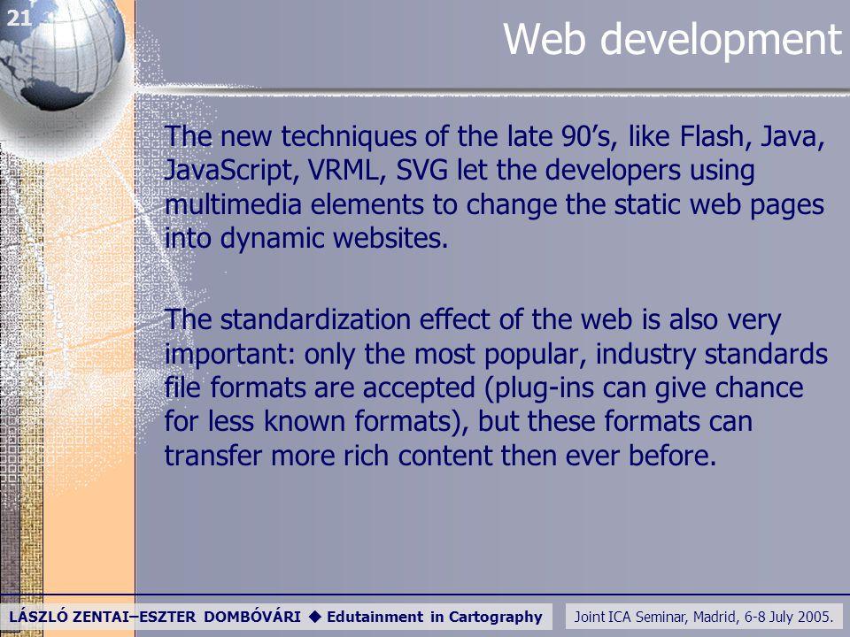 Joint ICA Seminar, Madrid, 6-8 July 2005. LÁSZLÓ ZENTAI–ESZTER DOMBÓVÁRI  Edutainment in Cartography 21 Web development The new techniques of the lat