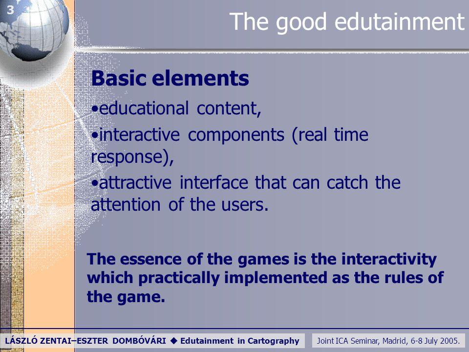 Joint ICA Seminar, Madrid, 6-8 July 2005. LÁSZLÓ ZENTAI–ESZTER DOMBÓVÁRI  Edutainment in Cartography 3 The good edutainment Basic elements educationa