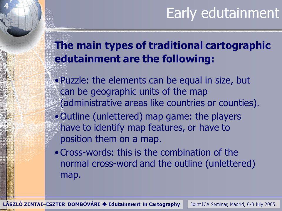 Joint ICA Seminar, Madrid, 6-8 July 2005. LÁSZLÓ ZENTAI–ESZTER DOMBÓVÁRI  Edutainment in Cartography 4 Early edutainment The main types of traditiona