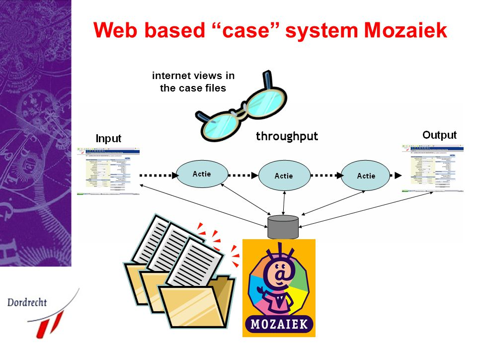 Web based case system Mozaiek internet views in the case files throughput