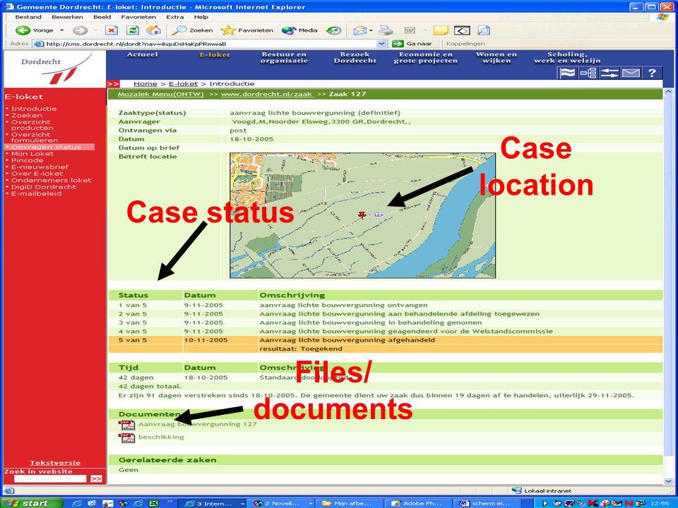 Vergunningverlening en handhaving; de keten gedigitaliseerd Scherm voor de aanvrager over zijn zaak Case location Files/ documents Case status