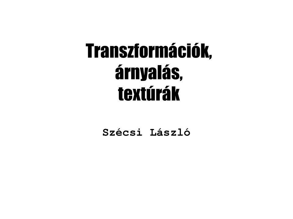 Transzformációk, árnyalás, textúrák Szécsi László