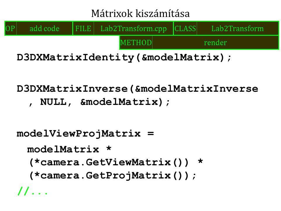 D3DXMatrixIdentity(&modelMatrix); D3DXMatrixInverse(&modelMatrixInverse, NULL, &modelMatrix); modelViewProjMatrix = modelMatrix * (*camera.GetViewMatr