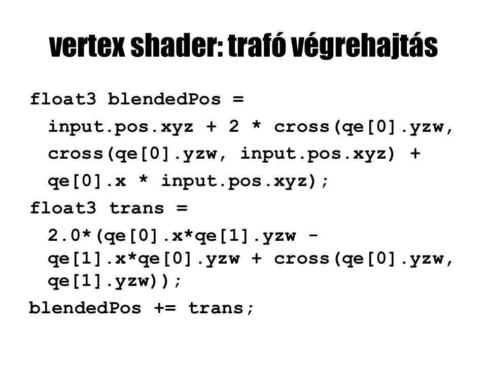 vertex shader: trafó végrehajtás float3 blendedPos = input.pos.xyz + 2 * cross(qe[0].yzw, cross(qe[0].yzw, input.pos.xyz) + qe[0].x * input.pos.xyz); float3 trans = 2.0*(qe[0].x*qe[1].yzw - qe[1].x*qe[0].yzw + cross(qe[0].yzw, qe[1].yzw)); blendedPos += trans;