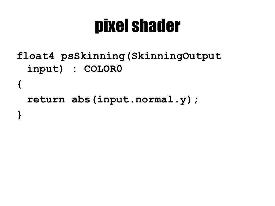 pixel shader float4 psSkinning(SkinningOutput input) : COLOR0 { return abs(input.normal.y); }