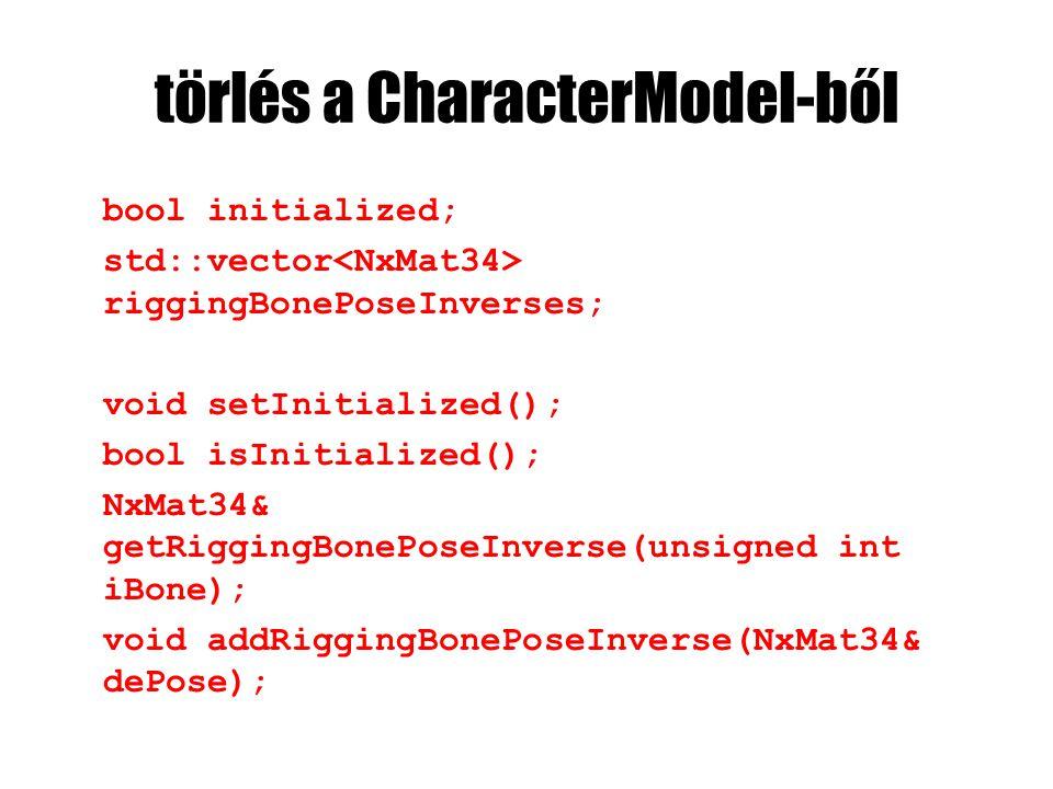 törlés a CharacterModel-ből bool initialized; std::vector riggingBonePoseInverses; void setInitialized(); bool isInitialized(); NxMat34& getRiggingBonePoseInverse(unsigned int iBone); void addRiggingBonePoseInverse(NxMat34& dePose);