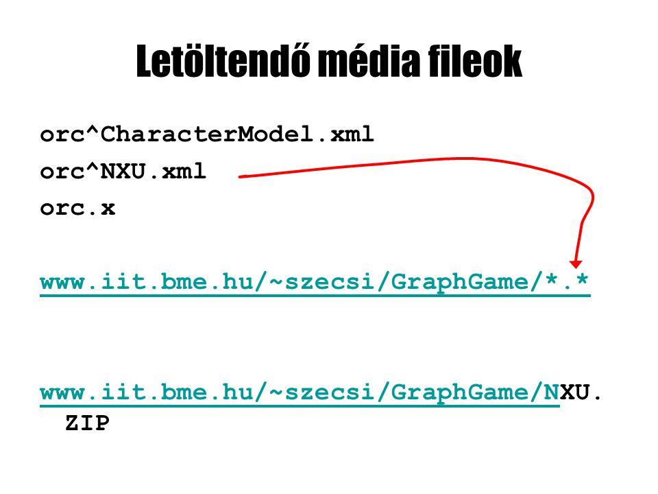 Letöltendő média fileok orc^CharacterModel.xml orc^NXU.xml orc.x www.iit.bme.hu/~szecsi/GraphGame/*.* www.iit.bme.hu/~szecsi/GraphGame/Nwww.iit.bme.hu/~szecsi/GraphGame/NXU.