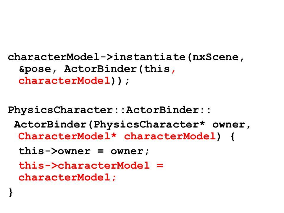 characterModel->instantiate(nxScene, &pose, ActorBinder(this, characterModel)); PhysicsCharacter::ActorBinder:: ActorBinder(PhysicsCharacter* owner, CharacterModel* characterModel) { this->owner = owner; this->characterModel = characterModel; }