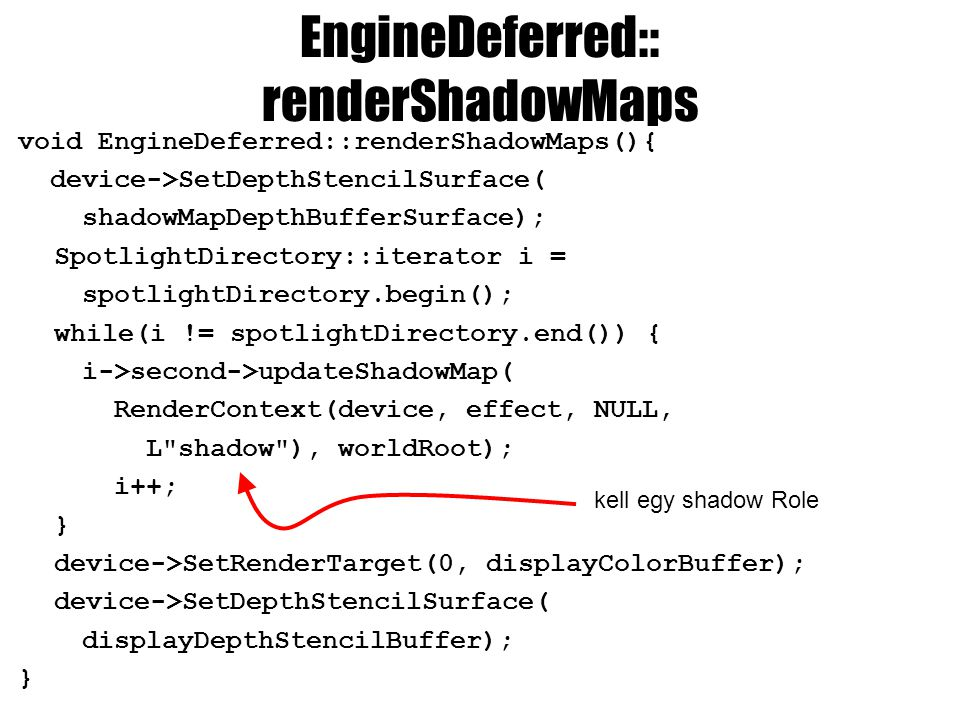 EngineDeferred:: renderShadowMaps void EngineDeferred::renderShadowMaps(){ device->SetDepthStencilSurface( shadowMapDepthBufferSurface); SpotlightDirectory::iterator i = spotlightDirectory.begin(); while(i != spotlightDirectory.end()) { i->second->updateShadowMap( RenderContext(device, effect, NULL, L shadow ), worldRoot); i++; } device->SetRenderTarget(0, displayColorBuffer); device->SetDepthStencilSurface( displayDepthStencilBuffer); } kell egy shadow Role