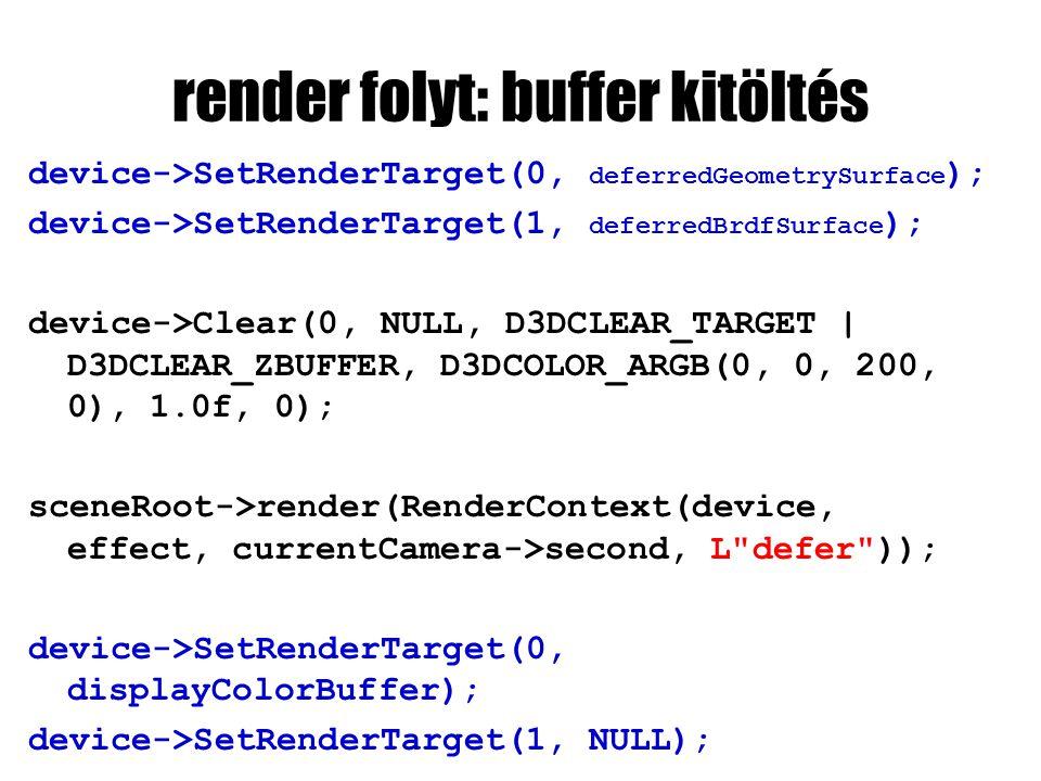 render folyt: buffer kitöltés device->SetRenderTarget(0, deferredGeometrySurface ); device->SetRenderTarget(1, deferredBrdfSurface ); device->Clear(0,