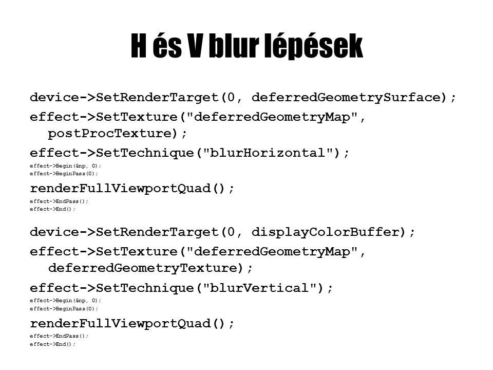 H és V blur lépések device->SetRenderTarget(0, deferredGeometrySurface); effect->SetTexture(