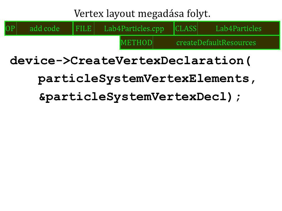 device->CreateVertexDeclaration( particleSystemVertexElements, &particleSystemVertexDecl); Vertex layout megadása folyt. FILELab4Particles.cppOPadd co