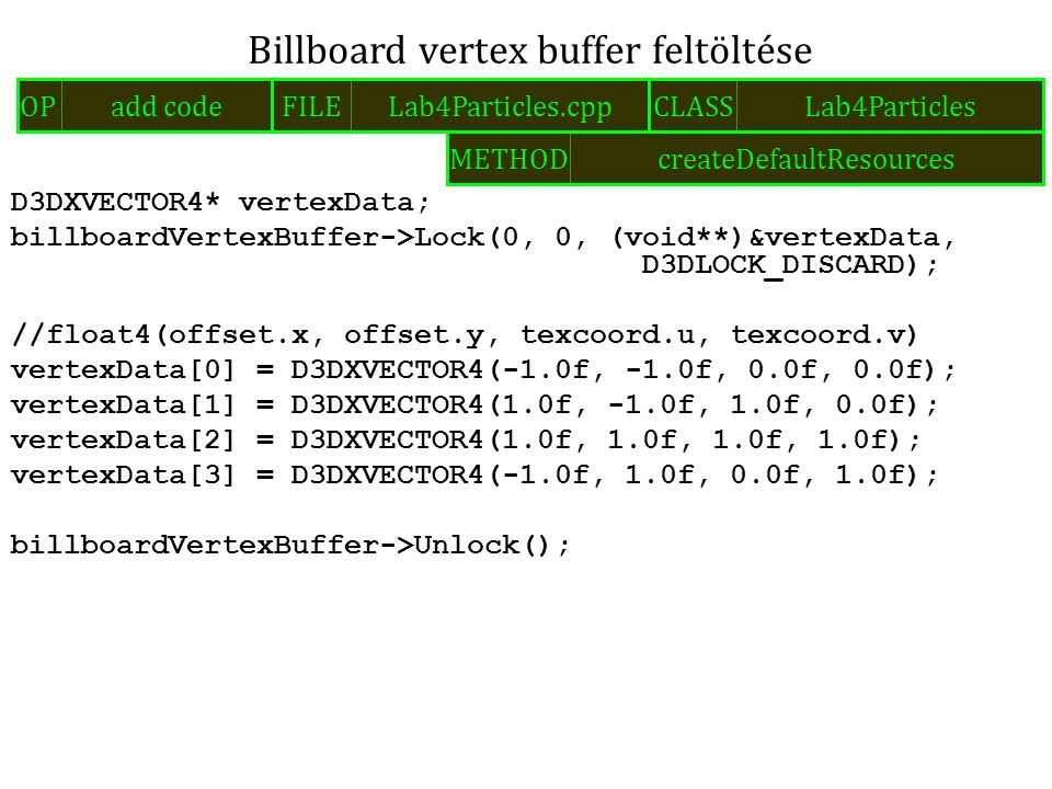 D3DXVECTOR4* vertexData; billboardVertexBuffer->Lock(0, 0, (void**)&vertexData, D3DLOCK_DISCARD); //float4(offset.x, offset.y, texcoord.u, texcoord.v) vertexData[0] = D3DXVECTOR4(-1.0f, -1.0f, 0.0f, 0.0f); vertexData[1] = D3DXVECTOR4(1.0f, -1.0f, 1.0f, 0.0f); vertexData[2] = D3DXVECTOR4(1.0f, 1.0f, 1.0f, 1.0f); vertexData[3] = D3DXVECTOR4(-1.0f, 1.0f, 0.0f, 1.0f); billboardVertexBuffer->Unlock(); Billboard vertex buffer feltöltése FILELab4Particles.cppOPadd codeCLASSLab4Particles METHODcreateDefaultResources