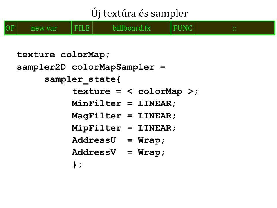 texture colorMap; sampler2D colorMapSampler = sampler_state{ texture = ; MinFilter = LINEAR; MagFilter = LINEAR; MipFilter = LINEAR; AddressU = Wrap;