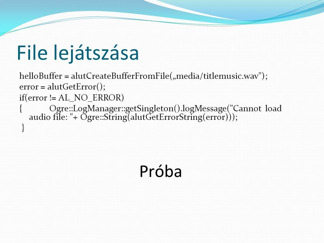 Error handing #define ALUT_SAFE_CALL(call, message) {call; \ ALenum error = alutGetError(); \ if(error != ALUT_ERROR_NO_ERROR) \ Ogre::LogManager::getSingleton().logMessage(message + Ogre::String( ) + Ogre::String(alutGetErrorString(error))); \ } #define AL_SAFE_CALL(call, message) {call; \ ALenum error = alGetError(); \ if(error != AL_NO_ERROR) \ Ogre::LogManager::getSingleton().logMessage(message + Ogre::String( ) + Ogre::String(alutGetErrorString(error))); \ }