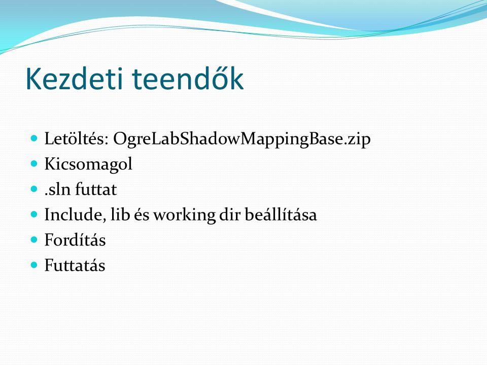 Kezdeti teendők Letöltés: OgreLabShadowMappingBase.zip Kicsomagol.sln futtat Include, lib és working dir beállítása Fordítás Futtatás