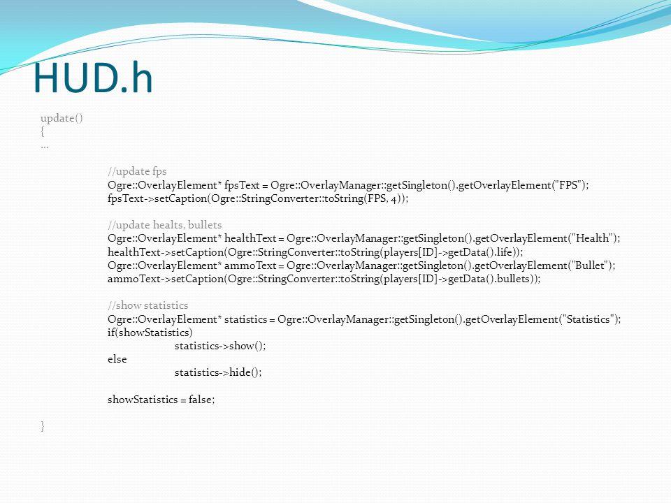 HUD.h update() { … //update fps Ogre::OverlayElement* fpsText = Ogre::OverlayManager::getSingleton().getOverlayElement(