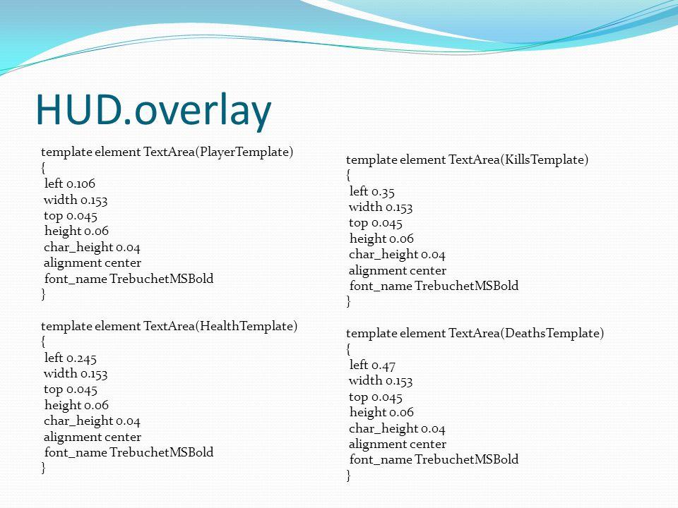 HUD.overlay template element TextArea(PlayerTemplate) { left 0.106 width 0.153 top 0.045 height 0.06 char_height 0.04 alignment center font_name Trebu
