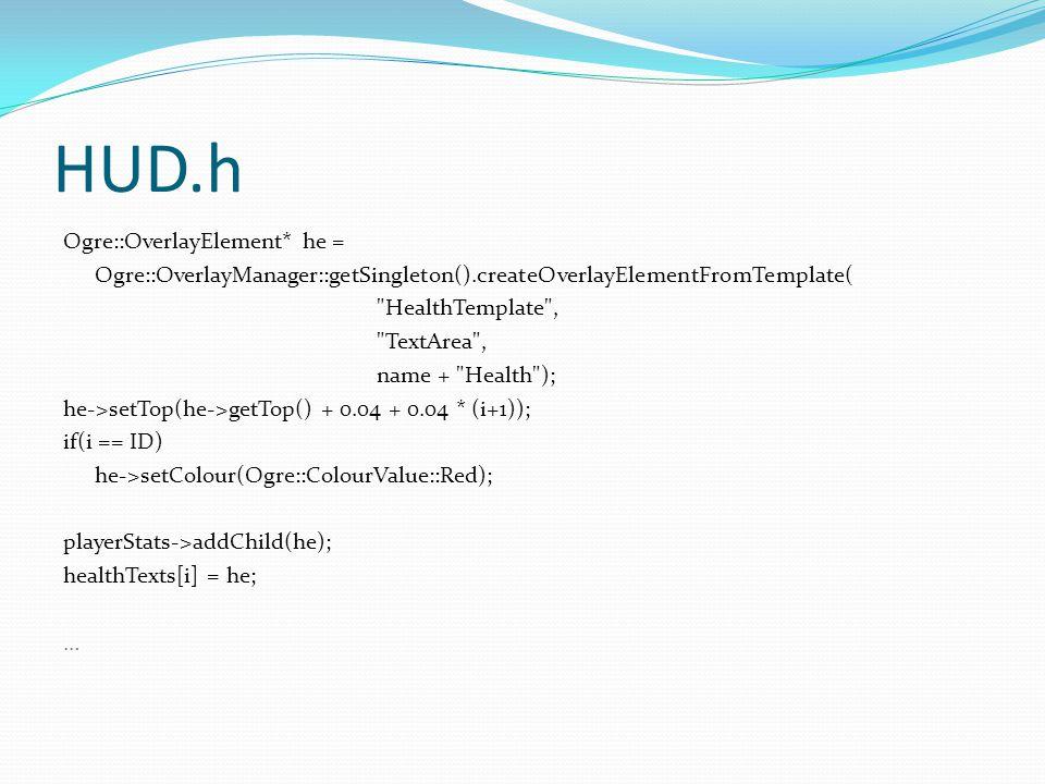 HUD.h Ogre::OverlayElement* he = Ogre::OverlayManager::getSingleton().createOverlayElementFromTemplate(
