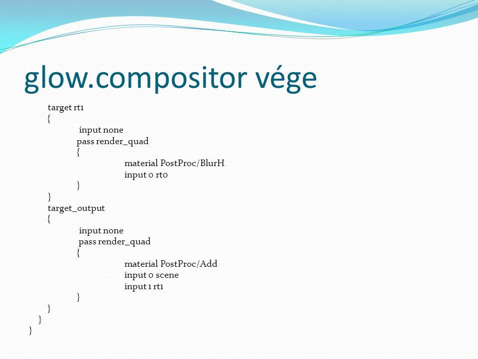 glow.compositor vége target rt1 { input none pass render_quad { material PostProc/BlurH input 0 rt0 } target_output { input none pass render_quad { material PostProc/Add input 0 scene input 1 rt1 }