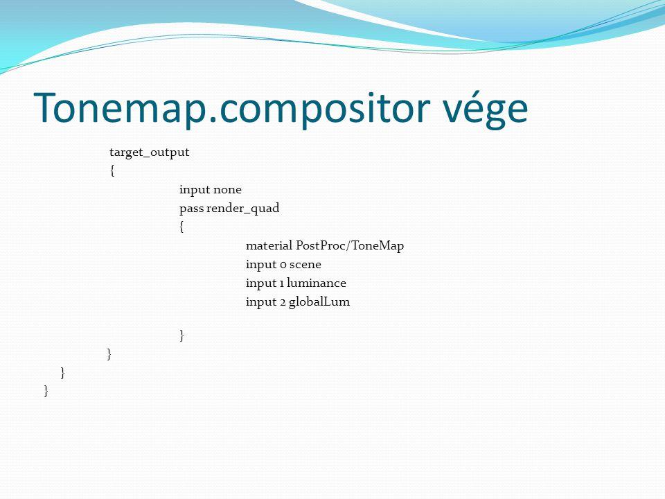 Tonemap.compositor vége target_output { input none pass render_quad { material PostProc/ToneMap input 0 scene input 1 luminance input 2 globalLum }
