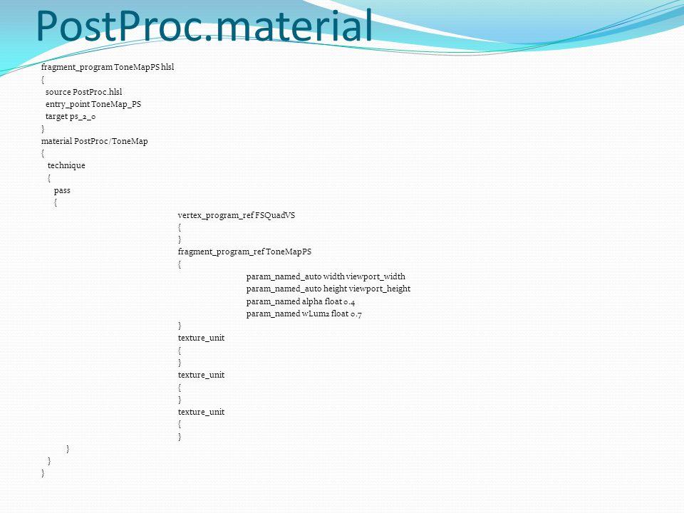 PostProc.material fragment_program ToneMapPS hlsl { source PostProc.hlsl entry_point ToneMap_PS target ps_2_0 } material PostProc/ToneMap { technique { pass { vertex_program_ref FSQuadVS { } fragment_program_ref ToneMapPS { param_named_auto width viewport_width param_named_auto height viewport_height param_named alpha float 0.4 param_named wLum2 float 0.7 } texture_unit { } texture_unit { } texture_unit { }