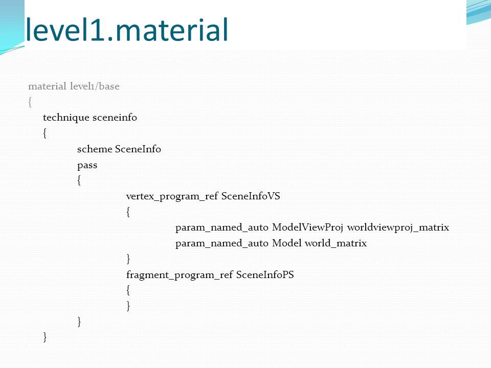 level1.material material level1/base { technique sceneinfo { scheme SceneInfo pass { vertex_program_ref SceneInfoVS { param_named_auto ModelViewProj worldviewproj_matrix param_named_auto Model world_matrix } fragment_program_ref SceneInfoPS { }