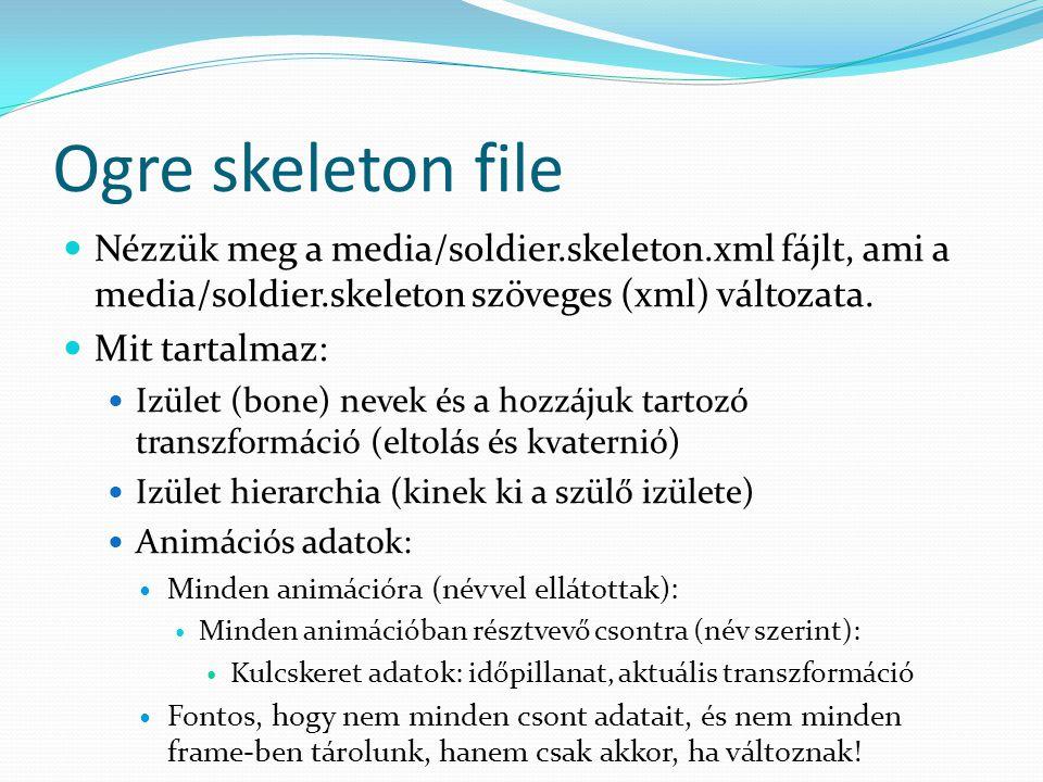 Ogre skeleton file Nézzük meg a media/soldier.skeleton.xml fájlt, ami a media/soldier.skeleton szöveges (xml) változata.