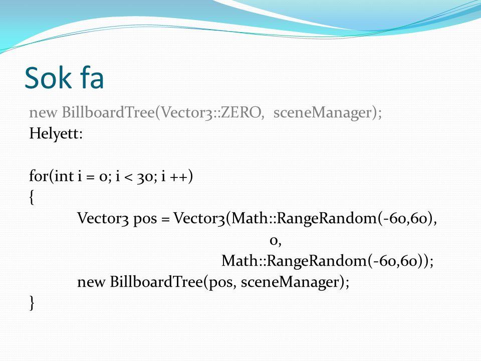 Sok fa new BillboardTree(Vector3::ZERO, sceneManager); Helyett: for(int i = 0; i < 30; i ++) { Vector3 pos = Vector3(Math::RangeRandom(-60,60), 0, Math::RangeRandom(-60,60)); new BillboardTree(pos, sceneManager); }