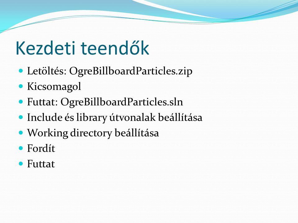 Kezdeti teendők Letöltés: OgreBillboardParticles.zip Kicsomagol Futtat: OgreBillboardParticles.sln Include és library útvonalak beállítása Working directory beállítása Fordít Futtat