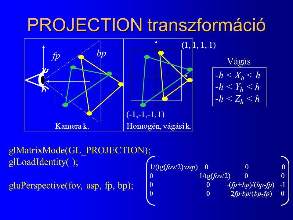 PROJECTION transzformáció glMatrixMode(GL_PROJECTION); glLoadIdentity( ); gluPerspective(fov, asp, fp, bp); Kamera k.Homogén, vágási k. (1, 1, 1, 1) (