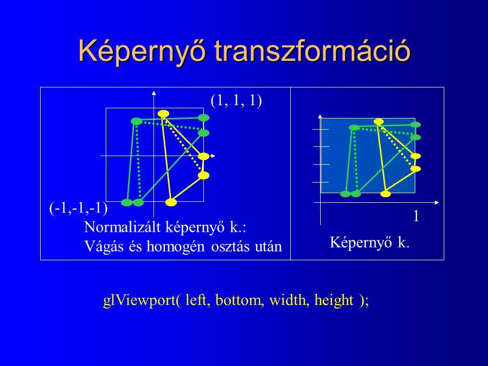 Képernyő transzformáció glViewport( left, bottom, width, height ); Normalizált képernyő k.: Vágás és homogén osztás után 1 (-1,-1,-1) (1, 1, 1) Képernyő k.
