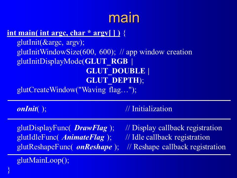main int main( int argc, char * argv[ ] ) { glutInit(&argc, argv); glutInitWindowSize(600, 600); // app window creation glutInitDisplayMode(GLUT_RGB   GLUT_DOUBLE   GLUT_DEPTH); glutCreateWindow( Waving flag… ); onInit( );// Initialization glutDisplayFunc( DrawFlag ); // Display callback registration glutIdleFunc( AnimateFlag );// Idle callback registration glutReshapeFunc( onReshape ); // Reshape callback registration glutMainLoop(); }