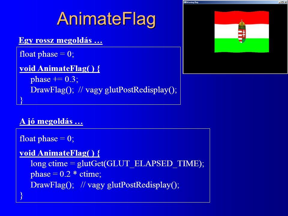 AnimateFlag float phase = 0; void AnimateFlag( ) { phase += 0.3; DrawFlag(); // vagy glutPostRedisplay(); } A jó megoldás … float phase = 0; void AnimateFlag( ) { long ctime = glutGet(GLUT_ELAPSED_TIME); phase = 0.2 * ctime; DrawFlag(); // vagy glutPostRedisplay(); } Egy rossz megoldás …
