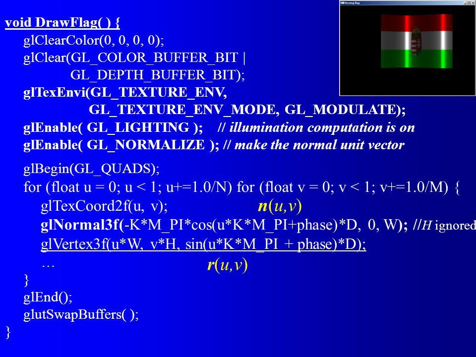 void DrawFlag( ) { glClearColor(0, 0, 0, 0); glClear(GL_COLOR_BUFFER_BIT   GL_DEPTH_BUFFER_BIT); glTexEnvi(GL_TEXTURE_ENV, GL_TEXTURE_ENV_MODE, GL_MODULATE); glEnable( GL_LIGHTING ); // illumination computation is on glEnable( GL_NORMALIZE ); // make the normal unit vector glBegin(GL_QUADS); for (float u = 0; u < 1; u+=1.0/N) for (float v = 0; v < 1; v+=1.0/M) { glTexCoord2f(u, v); glNormal3f(-K*M_PI*cos(u*K*M_PI+phase)*D, 0, W); // H ignored glVertex3f(u*W, v*H, sin(u*K*M_PI + phase)*D); … } glEnd(); glutSwapBuffers( ); } n(u,v) r(u,v)