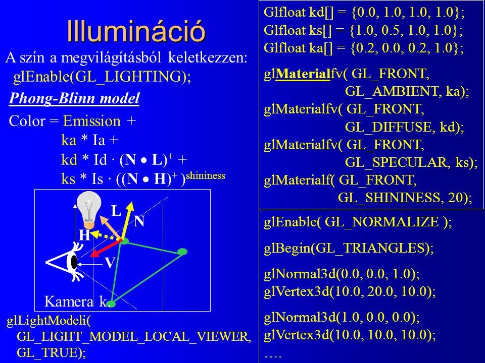 Illumináció Phong-Blinn model Color = Emission + ka * Ia + kd * Id · (N  L) + + ks * Is · ((N  H) + ) shininess Glfloat kd[] = {0.0, 1.0, 1.0, 1.0}; Glfloat ks[] = {1.0, 0.5, 1.0, 1.0}; Glfloat ka[] = {0.2, 0.0, 0.2, 1.0}; glMaterialfv( GL_FRONT, GL_AMBIENT, ka); glMaterialfv( GL_FRONT, GL_DIFFUSE, kd); glMaterialfv( GL_FRONT, GL_SPECULAR, ks); glMaterialf( GL_FRONT, GL_SHININESS, 20); glEnable( GL_NORMALIZE ); glBegin(GL_TRIANGLES); glNormal3d(0.0, 0.0, 1.0); glVertex3d(10.0, 20.0, 10.0); glNormal3d(1.0, 0.0, 0.0); glVertex3d(10.0, 10.0, 10.0); ….
