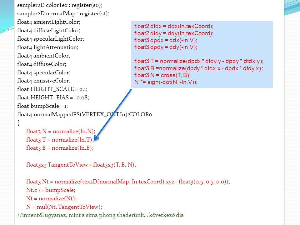 sampler2D colorTex : register(s0); sampler2D normalMap : register(s1); float4 amientLightColor; float4 diffuseLightColor; float4 specularLightColor; f