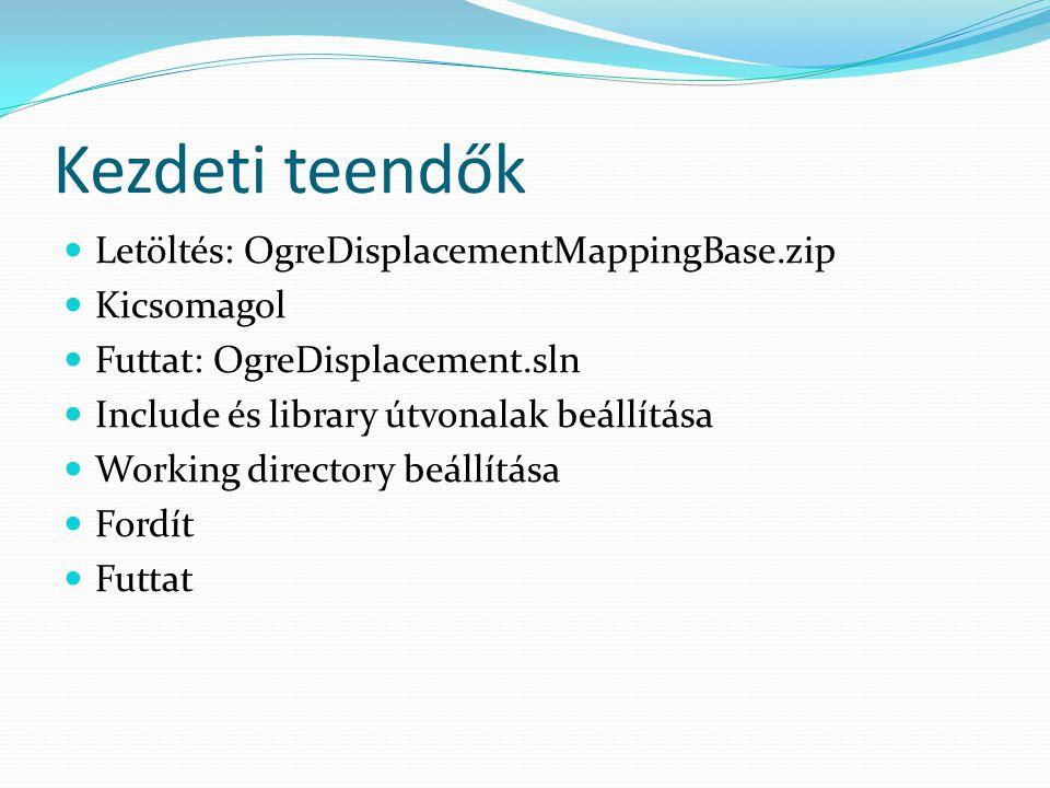 Kezdeti teendők Letöltés: OgreDisplacementMappingBase.zip Kicsomagol Futtat: OgreDisplacement.sln Include és library útvonalak beállítása Working dire