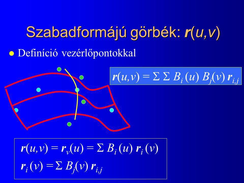 Szabadformájú görbék: r(u,v) l Definíció vezérlőpontokkal r(u,v) = r v (u) =  B i (u) r i (v) r i (v) =  B j (v) r i,j r(u,v) =   B i (u) B j (v)