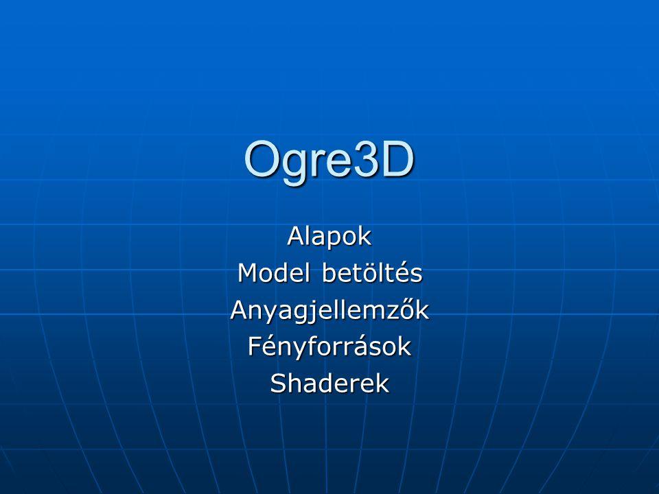 Ogre3D Alapok Model betöltés AnyagjellemzőkFényforrásokShaderek