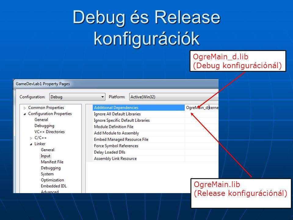 Debug és Release konfigurációk OgreMain_d.lib (Debug konfigurációnál) OgreMain.lib (Release konfigurációnál)
