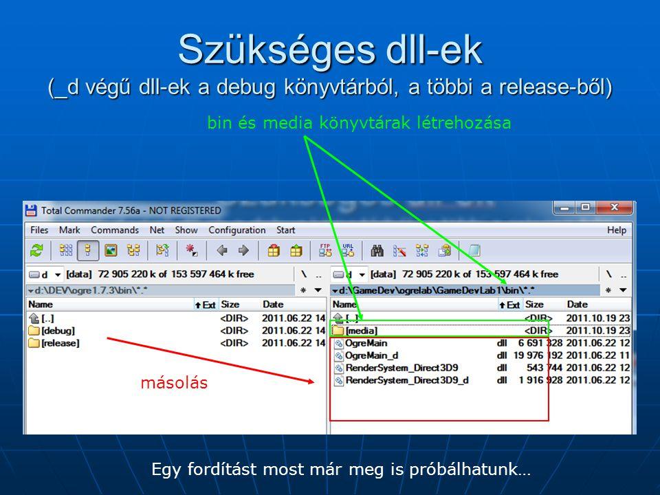 Szükséges dll-ek (_d végű dll-ek a debug könyvtárból, a többi a release-ből) másolás bin és media könyvtárak létrehozása Egy fordítást most már meg is próbálhatunk…