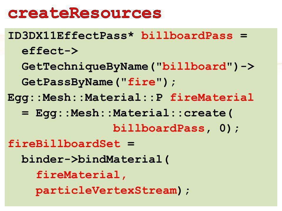 ID3DX11EffectPass* billboardPass = effect-> GetTechniqueByName( billboard )-> GetPassByName( fire ); Egg::Mesh::Material::P fireMaterial = Egg::Mesh::Material::create( billboardPass, 0); fireBillboardSet = binder->bindMaterial( fireMaterial, particleVertexStream);