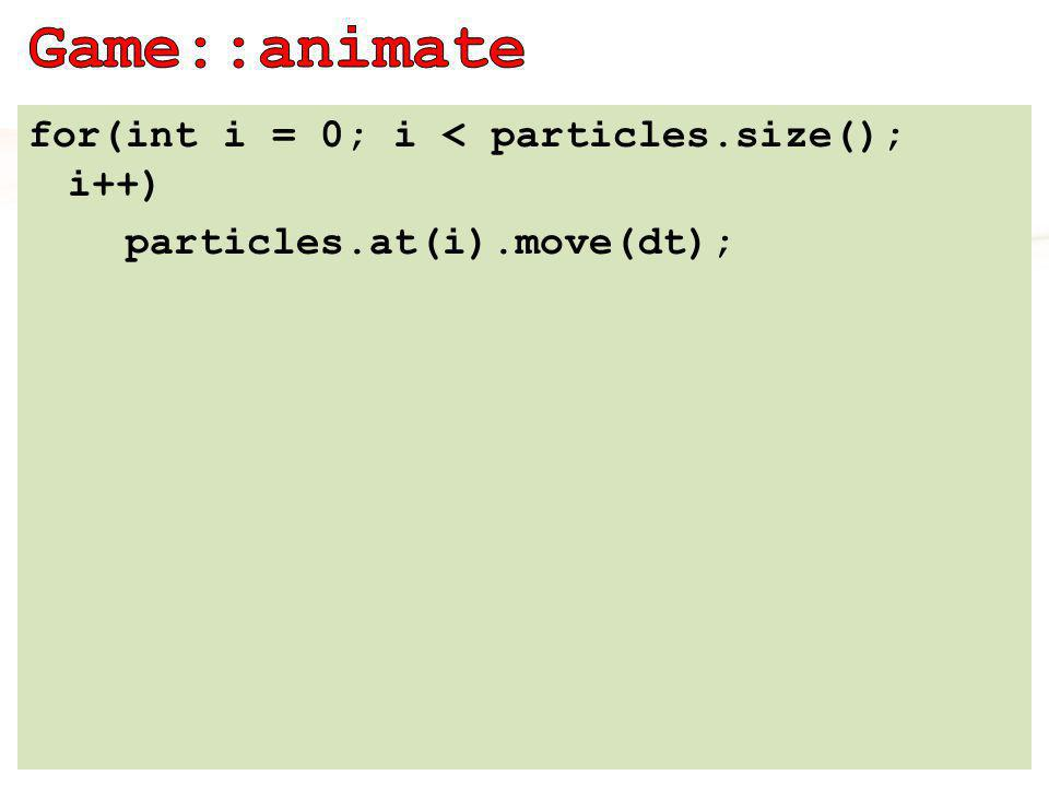 for(int i = 0; i < particles.size(); i++) particles.at(i).move(dt);