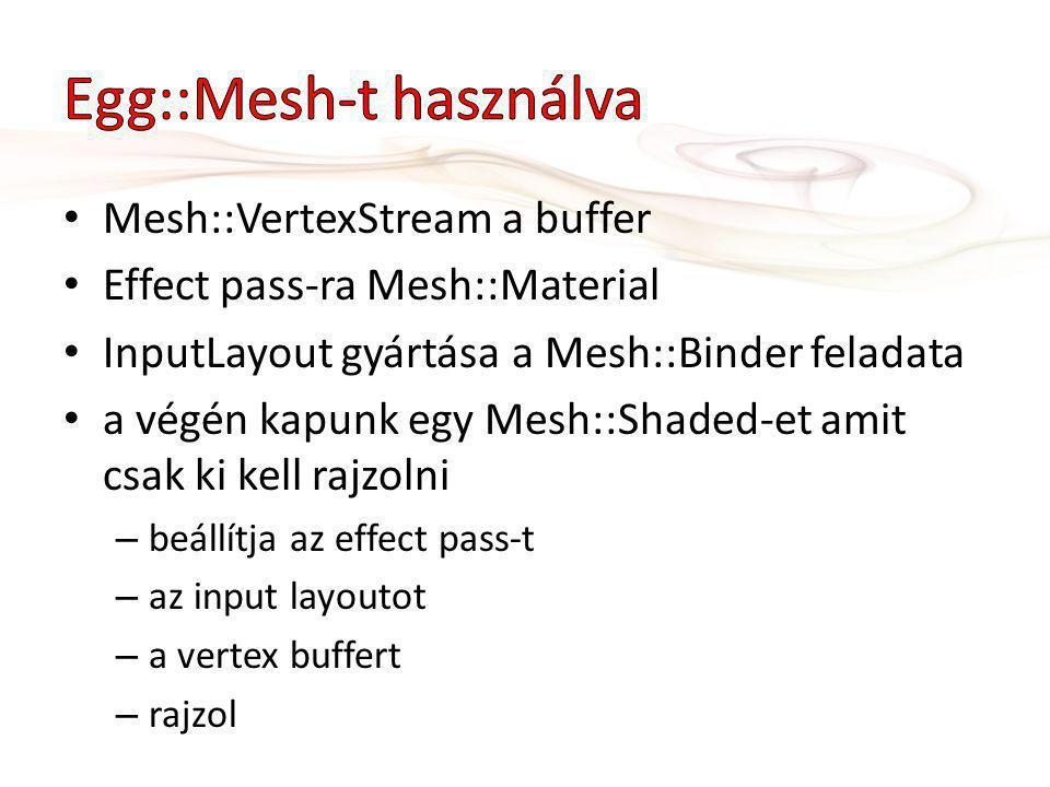 Mesh::VertexStream a buffer Effect pass-ra Mesh::Material InputLayout gyártása a Mesh::Binder feladata a végén kapunk egy Mesh::Shaded-et amit csak ki kell rajzolni – beállítja az effect pass-t – az input layoutot – a vertex buffert – rajzol